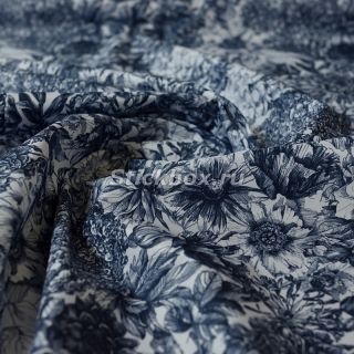 Ткань Дьюспо 240T WR PU Milky, принт Графика Floral 212 (White/dark denim), на отрез